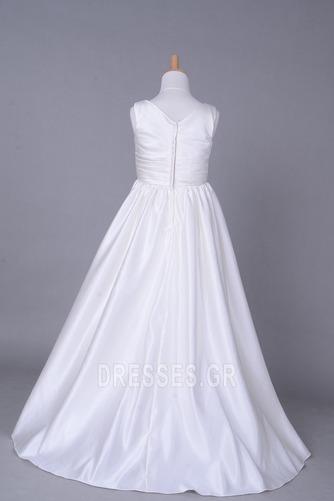 Σατέν Αυτοκρατορία Λευκό Χειμώνας Τραίνο παρεκκλησιών Λουλούδι κορίτσι φορέματα - Σελίδα 3