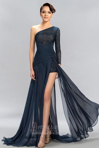 Ασύμμετρα μανίκια Δαντέλα Τα μέσα πλάτη Μακρύ Βραδινά φορέματα - Σελίδα 1