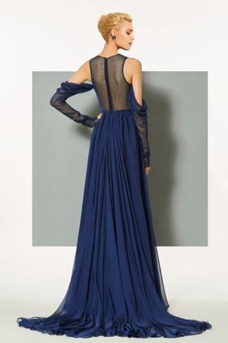 Σιφόν Αχλάδι Μήκος πατωμάτων κούνια Μακρύ Μανίκι Βραδινά φορέματα - Σελίδα 2