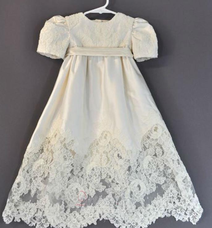 98176f0eacb Υψηλή καλύπτονται Σατέν Κοντομάνικο Μικρό Φόρεμα Βάπτισης - dresses.gr