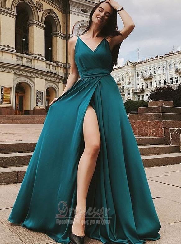 855f18768453 Μπροστινό Σκίσιμο Γραμμή Α Χάνει Αμάνικο Βραδινά φορέματα - Σελίδα 1 ...