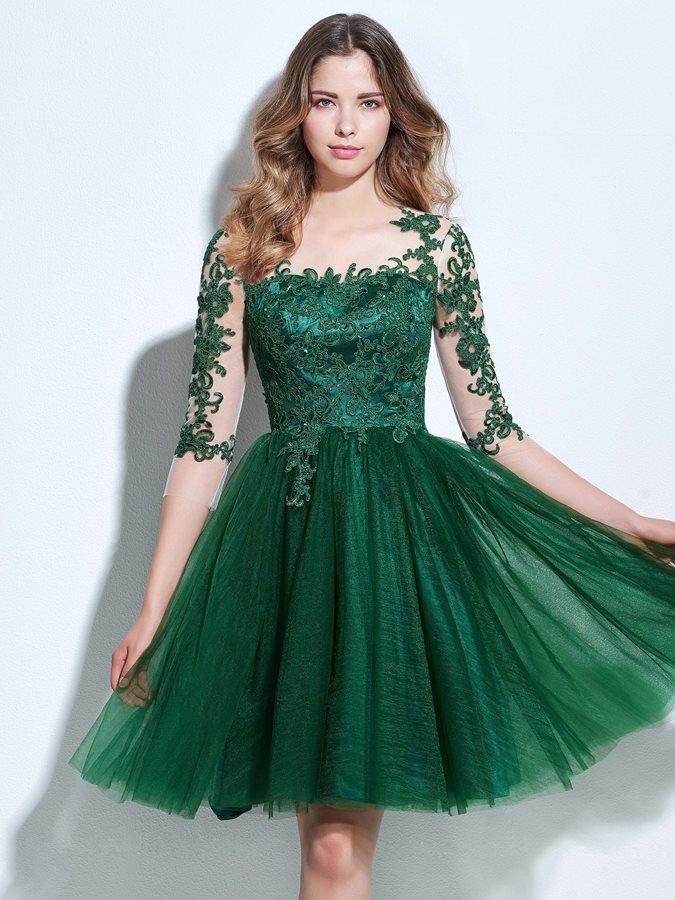 3115b5133bea Τούλι Κομψό Φυσικό Ντραπέ Δαντέλα επικάλυψης Κοκτέιλ φορέματα - Σελίδα 1 ...