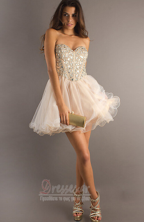 a16cb51e4ec7 Φόρεμα μπάλα Αμάνικο Πρησμένα Οργάντζα Κόσμημα τονισμένο μπούστο Κοκτέιλ  φορέματα - Σελίδα 1 ...