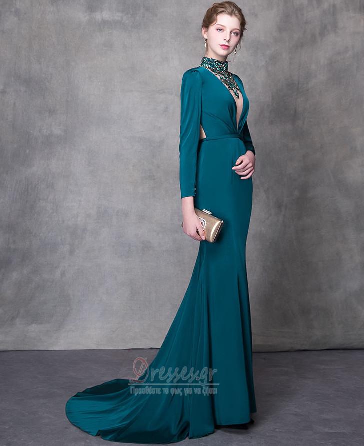 Μακρύ Μανίκι Χάνει Τα μέσα πλάτη Κόσμημα τονισμένο μπούστο Βραδινά φορέματα  - Σελίδα 1 ... b20ae1d1055