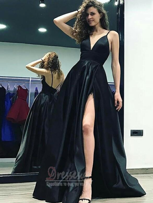 5d96dad691f Αμάνικο Μπροστινό Σκίσιμο Βαθιά v-λαιμός Βραδινά φορέματα - dresses.gr