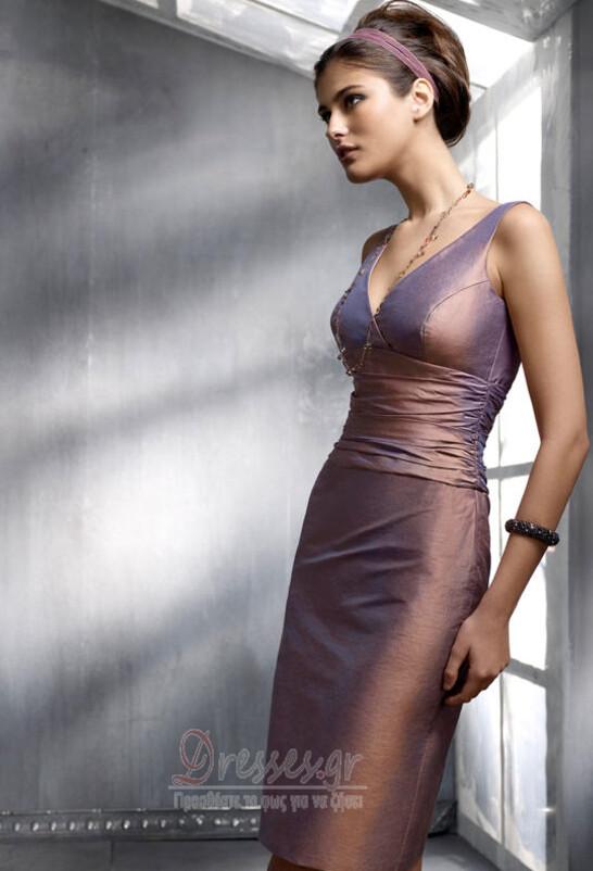 Αμάνικο Φερμουάρ επάνω πιέτα Μέχρι το Γόνατο Κοκτέιλ φορέματα - Σελίδα 1