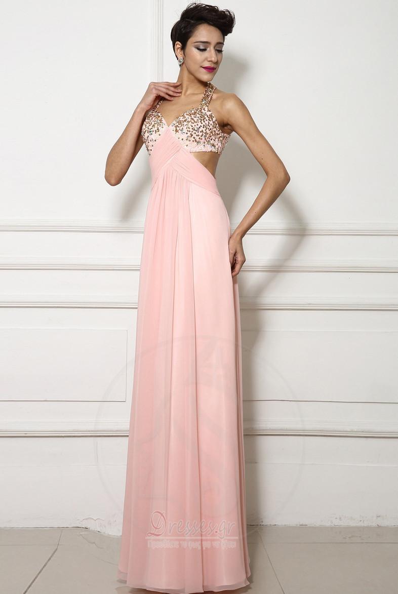d3fd88c89ec Χάντρες Γραμμή Α Φυσικό Αμάνικο Κομψό εξώπλατο Βραδινά φορέματα ...