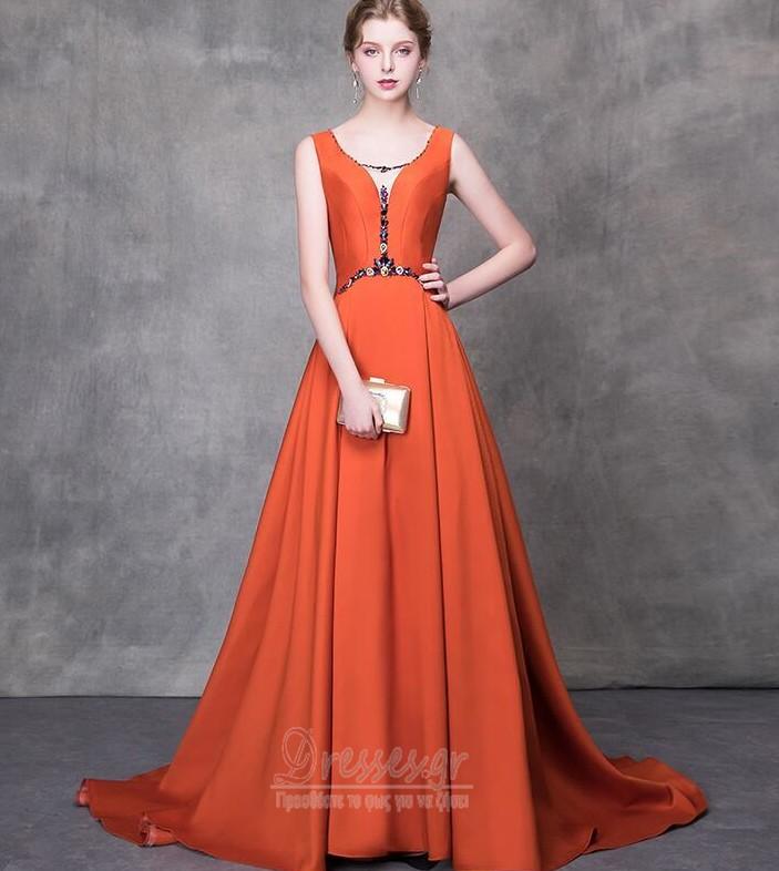 f8c5a3d3c2c Δαντέλα-επάνω Γραμμή Α Αμάνικο Φυσικό Σατέν Βραδινά φορέματα ...