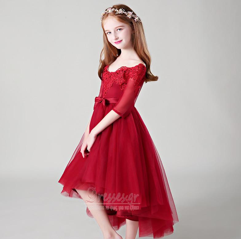 d127f538c569 ... Από τον ώμο Ασύμμετρη Δαντέλα Κοντομάνικο Λουλούδι κορίτσι φορέματα -  Σελίδα 4 ...