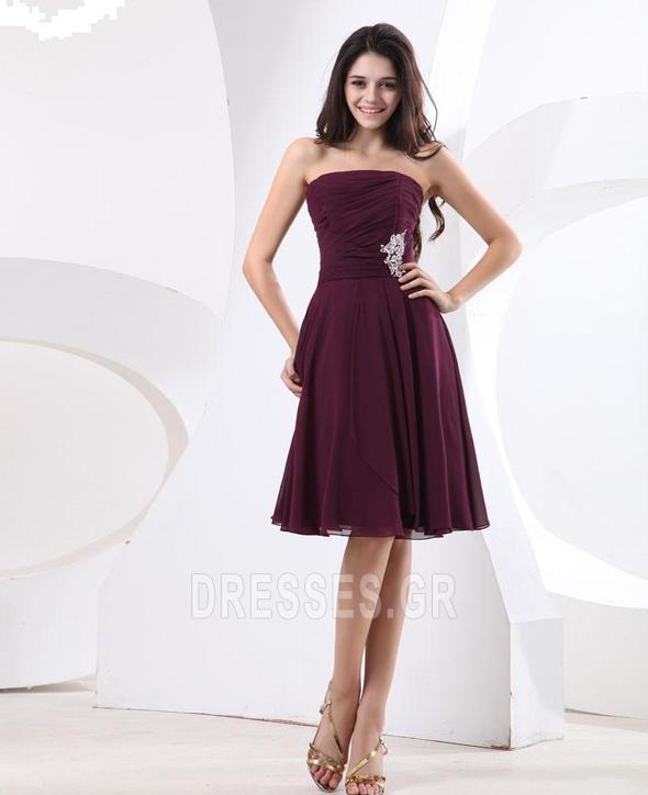 σικ Καλοκαίρι Τα μέσα πλάτη Μικρό Σιφόν Στράπλες Παράνυμφος φορέματα - Σελίδα 3