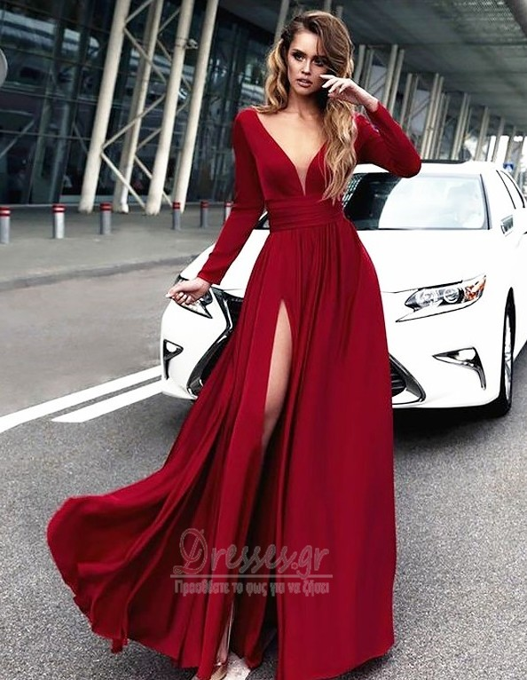 de469668d20 Μπροστινό Σκίσιμο Κοντομάνικο Βαθιά v-λαιμός Βραδινά φορέματα - Σελίδα 1 ...