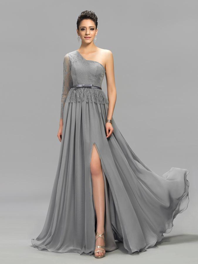 3271cdaed31 Αχλάδι Μακρύ Μανίκι Σιφόν Φυσικό Ένας Ώμος Βραδινά φορέματα - Σελίδα 1 ...