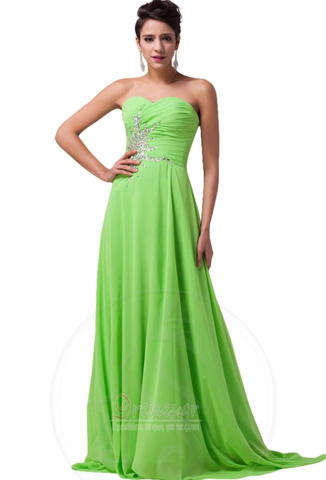 8af301ec355 Οι πτυχωμένες μπούστο Σιφόν Γραμμή Α αγαπημένος Βραδινά φορέματα ...