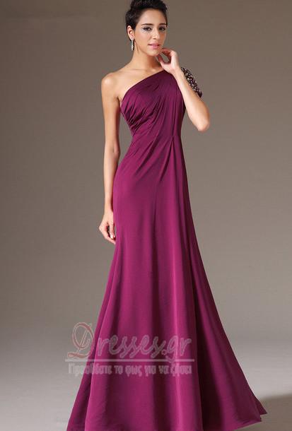 0266361fd97 Οι πτυχωμένες μπούστο Κομψό Ντραπέ Γραμμή Α Βραδινά φορέματα ...