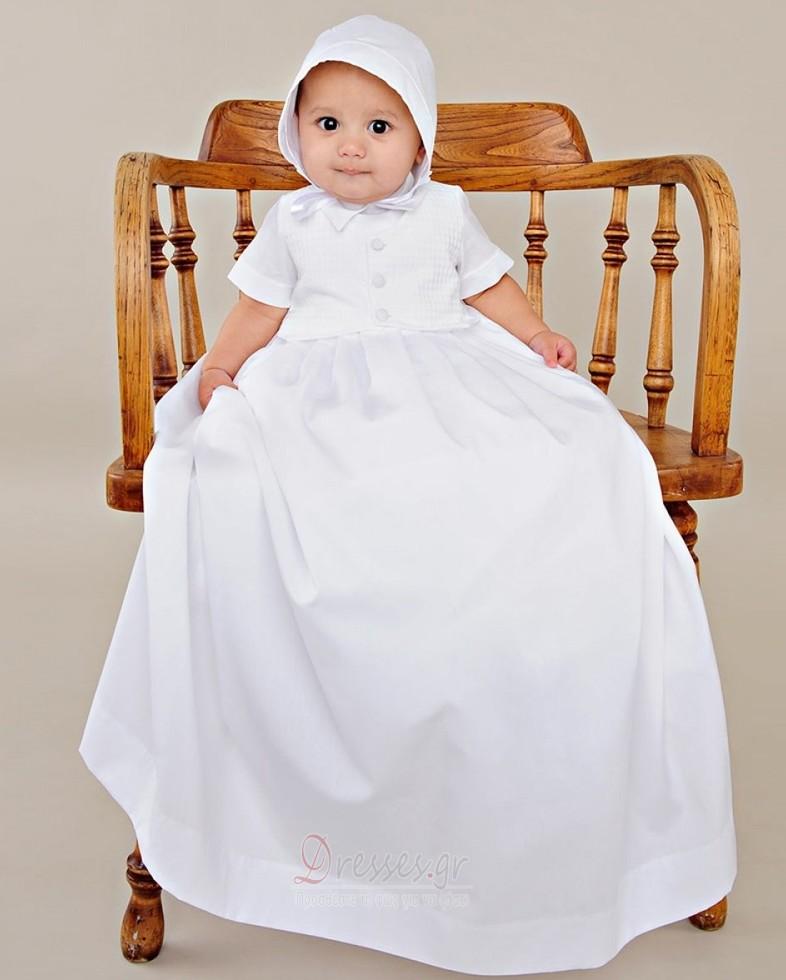 4e6a088903d Σατέν Επίσημη Κοντομάνικο Υψηλός λαιμός Μακρά Φόρεμα Βάπτισης - Σελίδα 1 ...