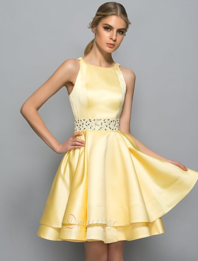 ad7c4a18f9e3 Γραμμή Α Κόσμημα Σατέν Χάνει Μέχρι το Γόνατο Κοκτέιλ φορέματα - Σελίδα 1 ...