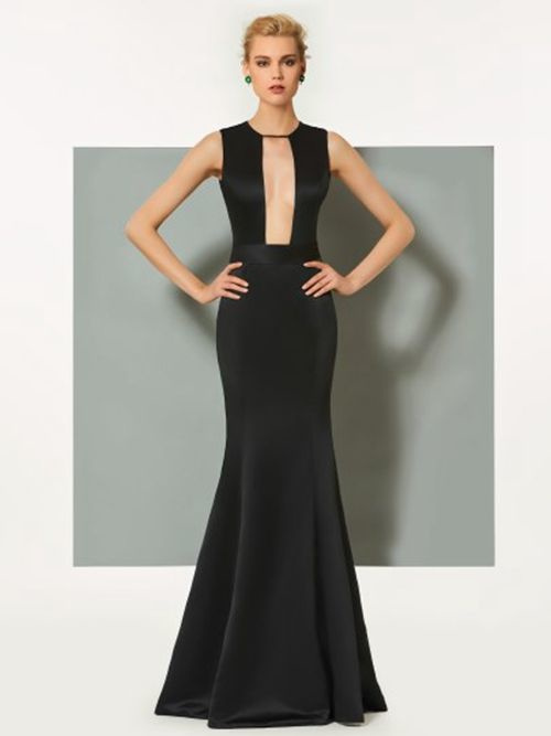 1f6d79d2069 Σατέν Φυσικό Κομψό Μήκος πατωμάτων Αμάνικο Βραδινά φορέματα - dresses.gr