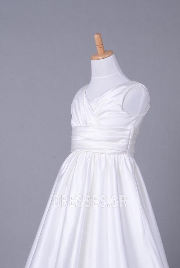 Σατέν Αυτοκρατορία Λευκό Χειμώνας Τραίνο παρεκκλησιών Λουλούδι κορίτσι φορέματα - Σελίδα 5