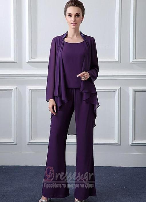 68bc662142e0 Μακρύ Μανίκι Σιφόν Ντραπέ Μέχρι τον αστράγαλο Παντελόνι κοστούμι φόρεμα -  Σελίδα 1 ...