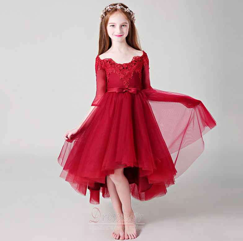 6b2010385da5 Από τον ώμο Ασύμμετρη Δαντέλα Κοντομάνικο Λουλούδι κορίτσι φορέματα - Σελίδα  1 ...