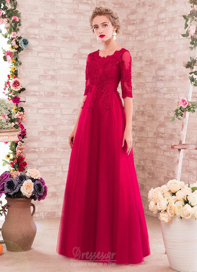 ae5f6584283 Φυσικό Άνοιξη Κόσμημα Μισό Μανίκι Τούλι Δαντέλα Παράνυμφος φορέματα ...