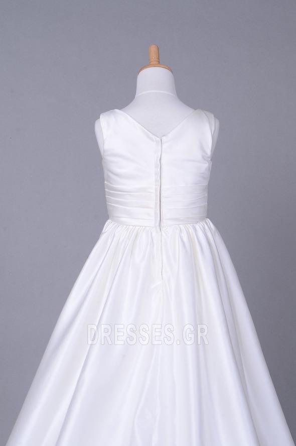 Σατέν Αυτοκρατορία Λευκό Χειμώνας Τραίνο παρεκκλησιών Λουλούδι κορίτσι φορέματα - Σελίδα 6