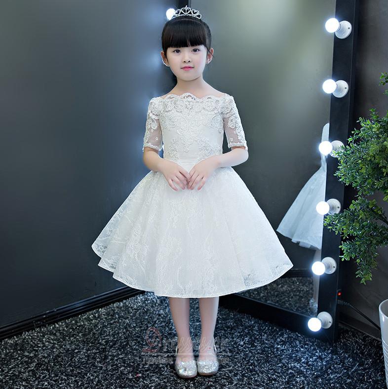 395a532ce015 Γραμμή Α Επίσημη Από τον ώμο Φερμουάρ επάνω Λουλούδι κορίτσι φορέματα - Σελίδα  1 ...