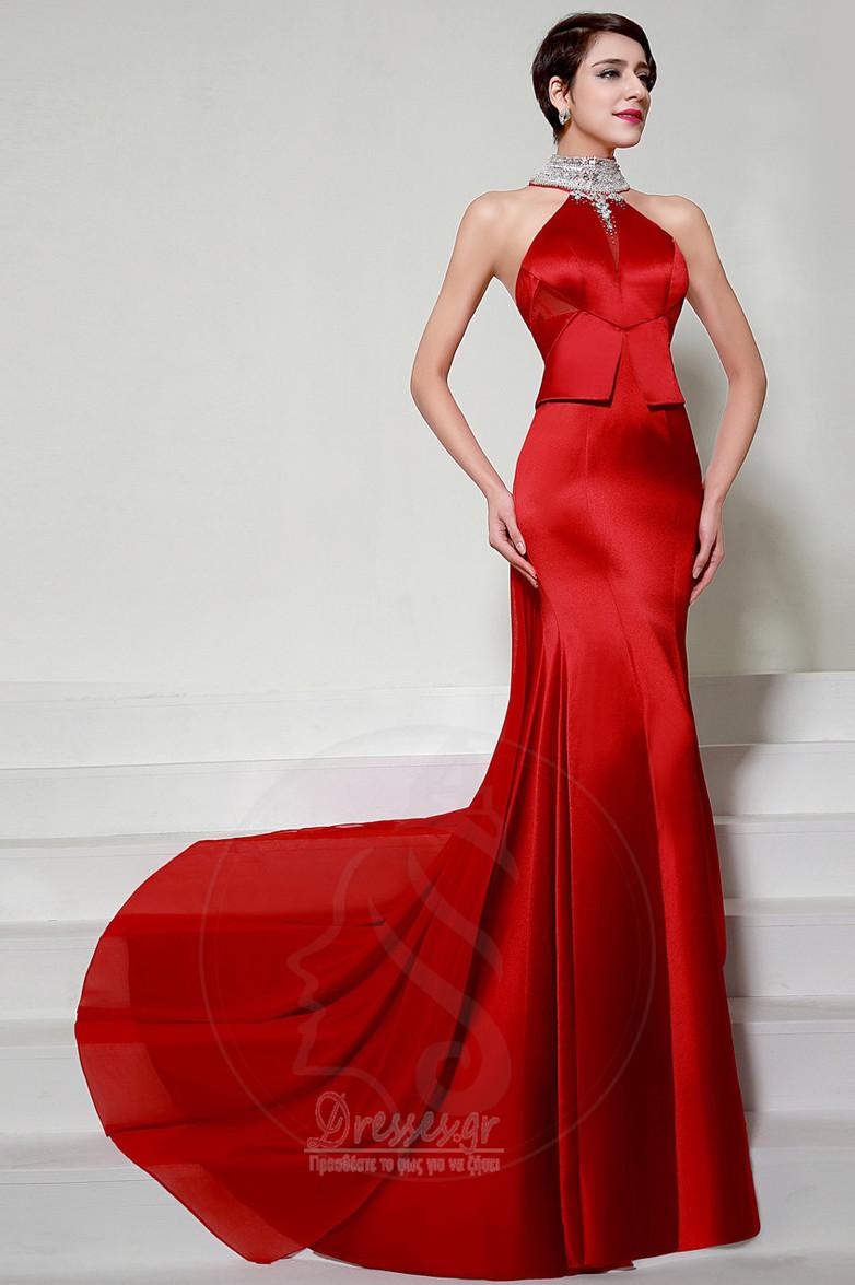 d01b3ec4a5e6 Χάντρες Αμάνικο Σατέν Φυσικό Επίσημη Τραίνο σκουπισμάτων Βραδινά φορέματα -  Σελίδα 1 ...