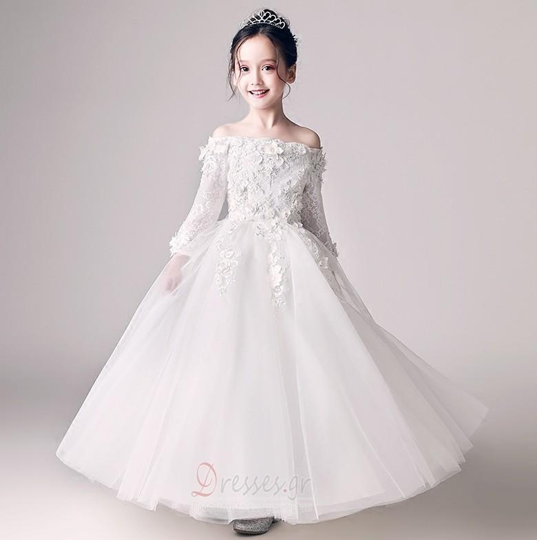 6953ffe9d64d Δαντέλα Από τον ώμο Μακρύ Μανίκι Λουλούδι Λουλούδι κορίτσι φορέματα - Σελίδα  1 ...