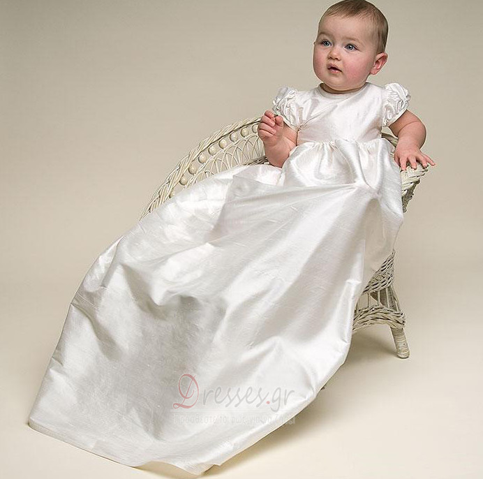 39b728175c1 Σατέν Κοντομάνικο Αυτοκρατορία πουφ μανίκια Φόρεμα Βάπτισης - dresses.gr